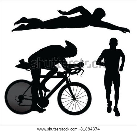 triathlon vector - stock vector