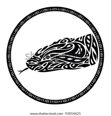 tribal anaconda snake tattoo - vector illustration - stock vector