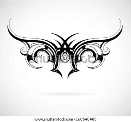 Tribal art tattoo wing shape - stock vector