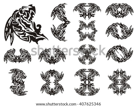 Tribal bee symbols. Big collection of decorative symbols and frames of a bee on a white background - stock vector