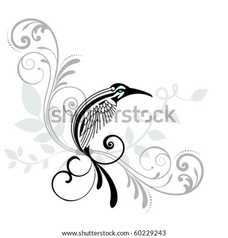 tribal bird resting - stock vector