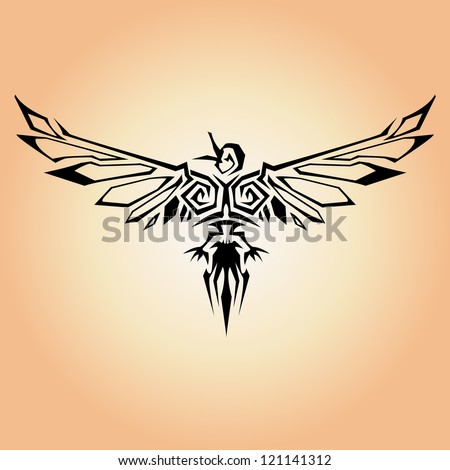tribal bird vector - stock vector