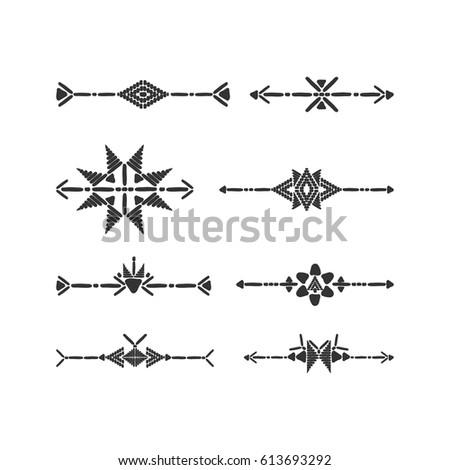 Tribal Border Set Vector Black White Stock Vector 613693292