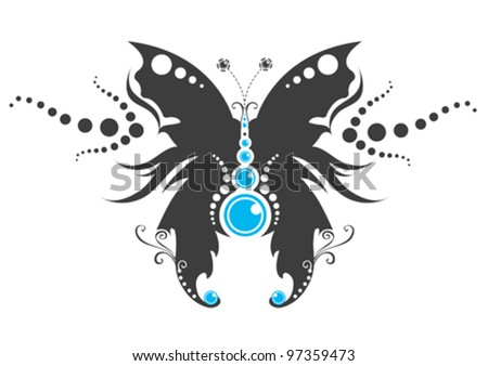 Tribal butterfly tattoo - stock vector