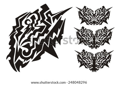 Tribal dangerous butterfly wings. Black on the white. Tribal tattoos of peaked wings of a butterfly - stock vector