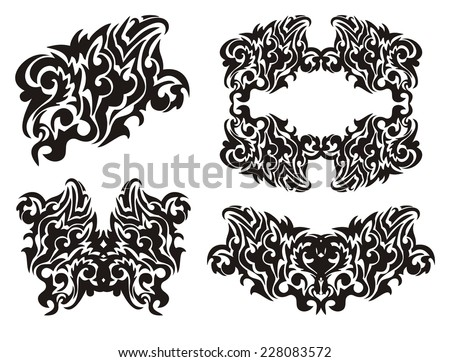 Tribal decorative eagle, frame, butterfly and other elements - stock vector