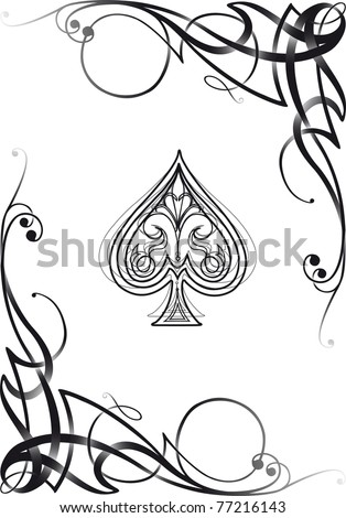 Tribal decorative style spade ace poker playing cards, vector illustration re-sizable. - stock vector