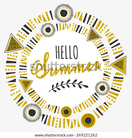 """Tribal design frame with text """"Hello Summer"""" on white background. - stock vector"""