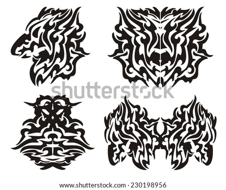 Tribal dragon elements - stock vector