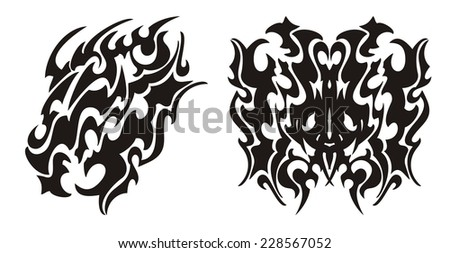 Tribal dragon head and dragon butterfly tattoo - stock vector