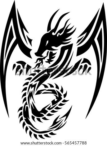 tribal dragon tattoo design illustration stock vector 565457788 shutterstock. Black Bedroom Furniture Sets. Home Design Ideas