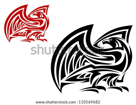 Tribal eagle mascot in two colors variations isolated on white background, such a logo. Jpeg version also available in gallery - stock vector