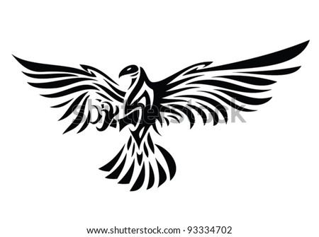 tribal eagle tattoo - vector illustration - Eagle symbol isolated on white for tattoo design - stock vector