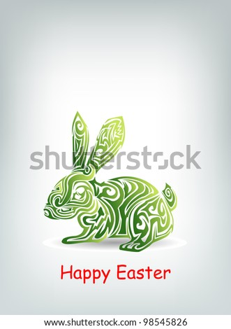 Tribal Easter rabbit background - stock vector