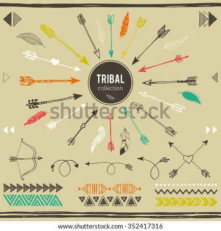 Tribal elements collection. Hand drawn ethnic collection with feathers, border, arrows, ethnic elements for design. Vector set with tribal, indian, aztec, hipster, boho elements. - stock vector
