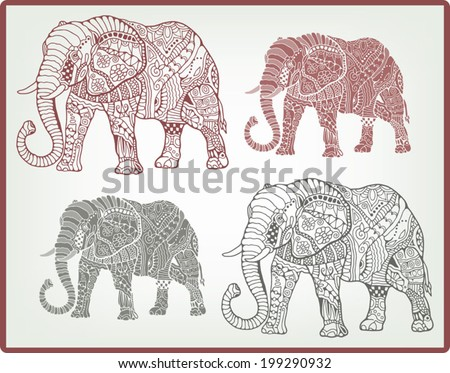 Tribal ethnic elephants background, hand drawn art in graphic style, geometric ornament, detailed lace pattern - stock vector