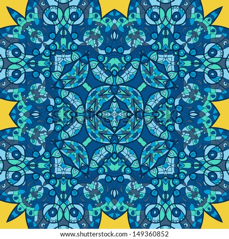 Tribal ethnic geometric seamless background  with many details, looks like handmade lace in blue tones of colour - stock vector