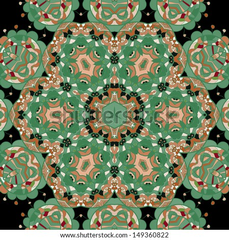Tribal ethnic geometric seamless with many details, looks like handmade lace in green tones of color - stock vector