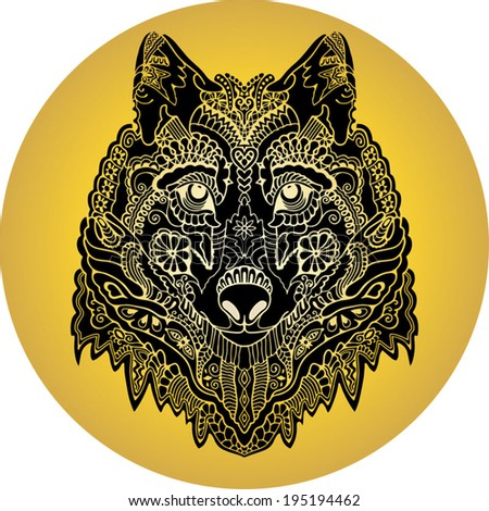 Tribal ethnic wolf totem, isolated black on gold, wild animal in graphic tattoo style, hand drawn art - stock vector