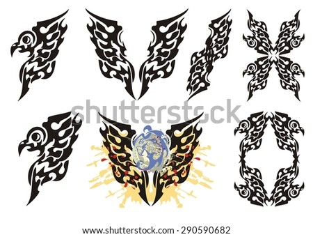 Tribal flaming eagle elements. Eagle wings with splashes in blood as a symbol of the power, also eagle frame and eagle elements - stock vector