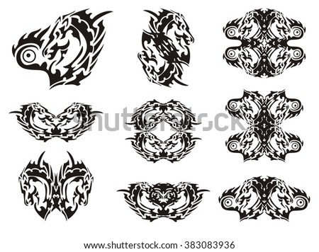 Tribal flaming horse head in the heart form and symbols from it - stock vector