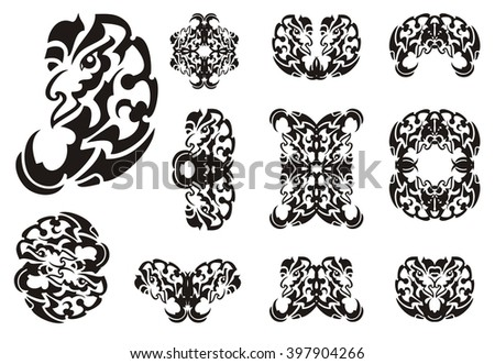 Tribal freakish dragon symbols. Big collection of the twirled wavy symbols of the dragon head for the decorative purposes. Black on the white - stock vector
