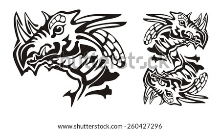 Tribal horned dragon head and dragon symbol in the dollar form. Stare of the dragon personifying the power in tribal style - stock vector
