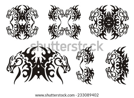 Tribal horse elements. Black on the white  - stock vector