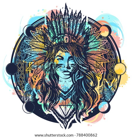 Tribal indian woman tattoo and t-shirt design. Ethnic girl warrior. American indian vector ethnic art