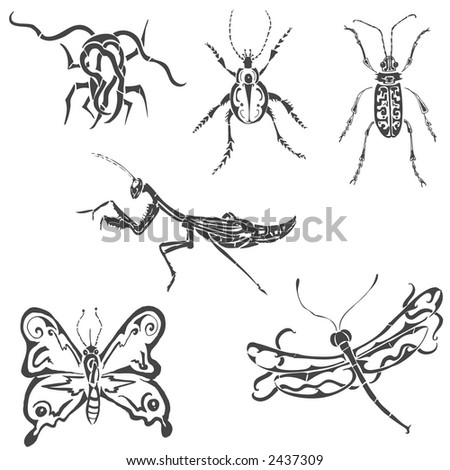 tribal insects - stock vector