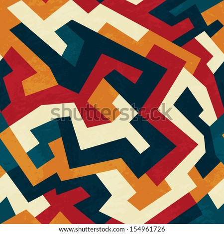tribal lines seamless pattern with grunge effect - stock vector