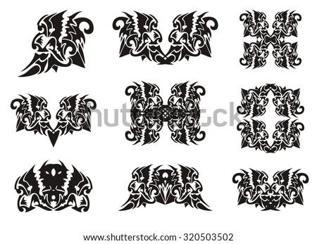 Tribal Lion Head Elements Dragon Form Stock Vector 320503502 ...