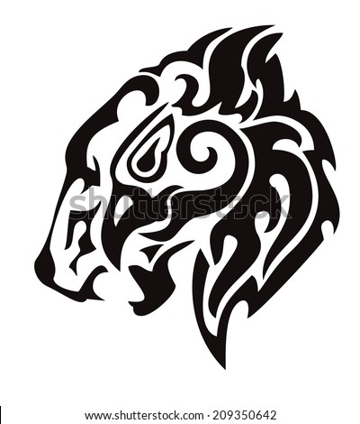 Tribal lion head formed by the head of an eagle - stock vector