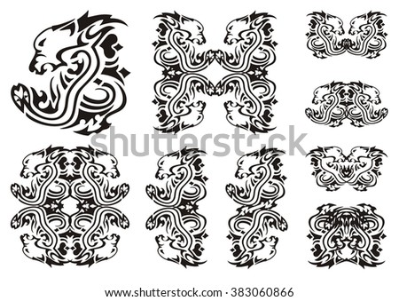 Tribal lion head with a snake. Set of the double twirled symbols of the lion's head with a snake - stock vector