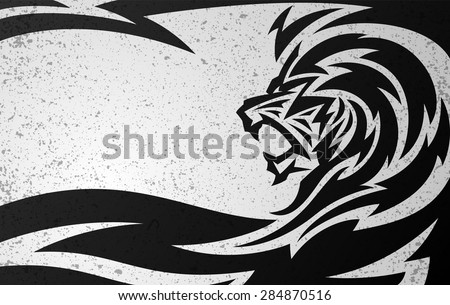 Tribal Lion Tattoo Design with Grunge Texture Background - stock vector