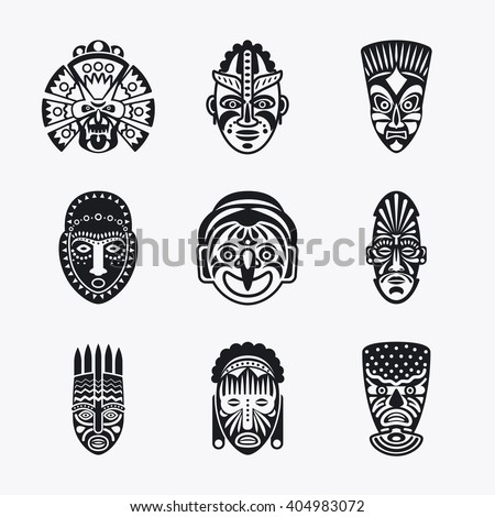 Tribal mask icons. Monochrome ethnic masks vector images on white background - stock vector