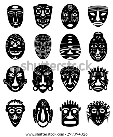 Tribal masks icons set