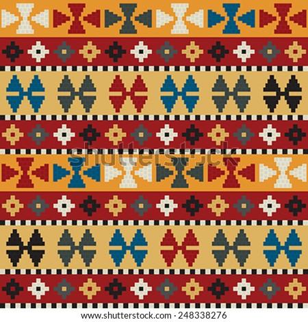 Tribal motif background, seamless pattern - stock vector