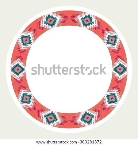 Tribal native ethnic aztec vector illustration. Decorative isolated elements, border, label for text.  - stock vector