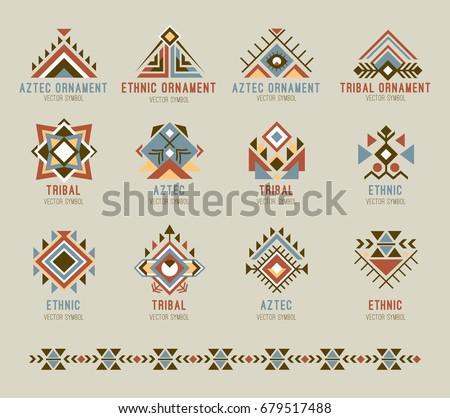 Tribal Native Pattern Set Geometric Shapes Stock Vector 679517488