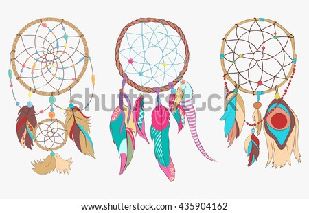 Tribal or spiritual dreamcatcher made of woven hoop and net or web. Sacred folk indian and ojibwe ancient sleep protection with bird feathers or quills. Traditional american magic totem - stock vector