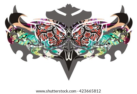 Tribal owl eyes splashes. Owl eyes created by wolf heads in Haida Style with colorful  splashes - stock vector