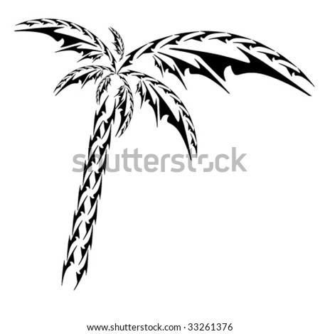tribal palm vector object - stock vector