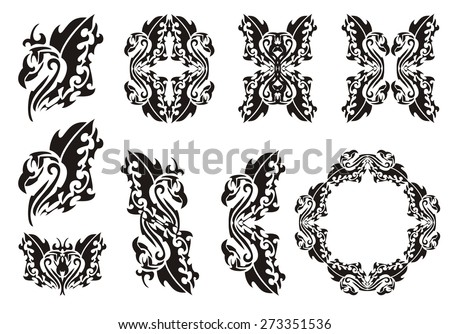 Tribal phoenix set. Black on the white. Rising from the ashes a bird the Phoenix with open wings, bird frames and double symbols of the Phoenix - stock vector