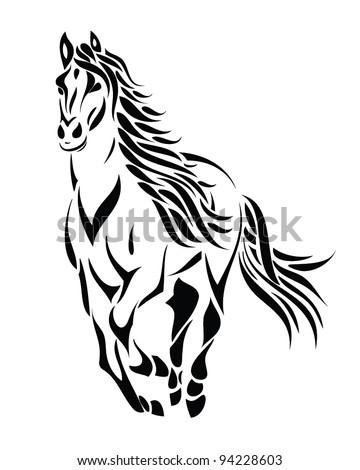 tribal running horse - vector tattoo illustration - stock vector