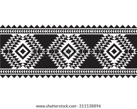 Tribal seamless black and white geometric border pattern. - stock vector