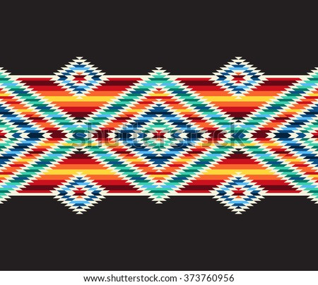 Tribal seamless colorful geometric border pattern.