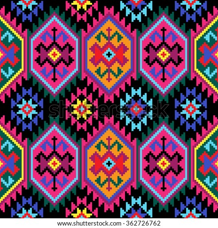 tribal seamless colorful geometric pattern stock vector