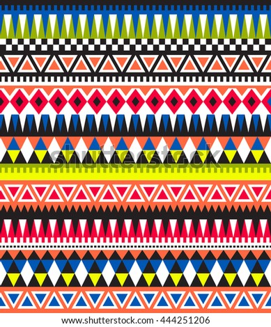 Tribal seamless colorful geometric pattern. Ethnic striped vector texture.Traditional ornament. - stock vector