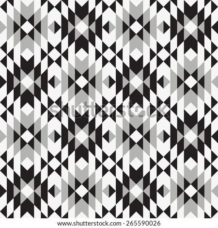 Tribal seamless grey black white geometric pattern. - stock vector